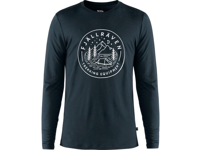 Fjällräven Abisko Tältplats Camiseta de Lana Manga Larga Hombre, dark navy